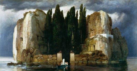 L'isola dei morti, di Anton Böcklin. Ha ispirato un intero mio romanzo, l'ultimo, in fase di revisione. Questo nel riquadro a sinistra è la terza versione del dipinto famoso, eseguito nel 1883 su commissione del mercante d'arte Fritz Gurlitt.