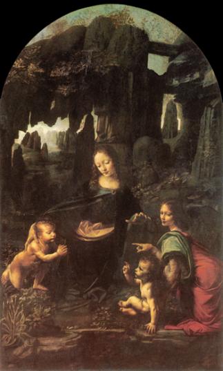 La Vergine delle Rocce, di Leonardo da Vinci. Che ci fa la Madonna in una grotta? Questo dipinto mi ha sempre spinto a immaginarmi scenari fantastici, forse una delle fonti dirette della fantasia di bambino. Questa è la versione conservata a Parigi, dipinta tra il 1483 e il 1486.