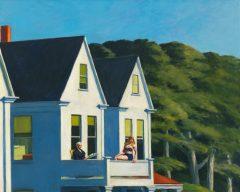 Second Story Sunlight, di Edward Hopper, dipinto nel 1960, con quell'atmosfera luminosa magnificamente riprodotta dal grande pittore americano. Le due donne di età diversa, sedute al secondo piano della casa, rappresentano l'una la serenità raggiunta (quella seduta al sicuro) e l'altra la sfrontatezza che caratterizza la gioventù (quella seduta sul cornicione della balconata)?