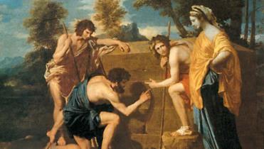 """Pastori dell'Arcadia, di Nicolas Poussin, con la famosa iscrizione """"et in Arcadia ego"""" (ovvero la morte, presente perfino nel mondo dorato e mitico dell'Arcadia), eseguito circa nel 1640."""