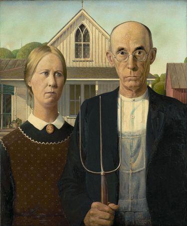 """American Gothic, di Grant Wood. Eseguito nel 1930 è capace di ispirare ogni possibile horror legato alla quotidiana cosiddetta """"normalità"""" della civiltà occidentale, quella più serena e tranquilla, che nasconde insidie insospettabili. Una meraviglia di un pittore statunitense."""