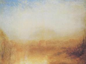 Paesaggio con fiume e montagne in lontananza, di William Turner, dipinto dal grande pittore inglese tra il 1840 e il 1850. Vedendolo di persona, vi posso dire che ci si perde dentro. Lo si ammira fino a quando ci si sente avvolti dalla luce che rappresenta.