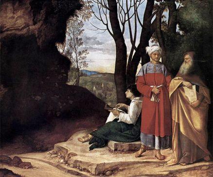 I tre filosofi, di Giorgione. Un altro dipinto del grande pittore veneto. Eseguito tra il 1506 e il 1508, quell'oscura rupe leonardesca di fronte ai tre uomini della ragione (uno per età) dice tutto. La capacità umana non arriva dappertutto.