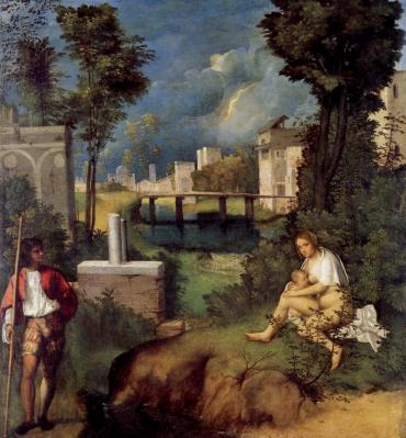 La Tempesta, di Giorgione. Questo dipinto, eseguito tra il 1502 e il 1503, è affascinante per la composizione dell'insieme: cosa c'entra una donna che allatta con una tempesta su una città? E il soldato? C'è chi l'ha interpretato con un significato da tarocchi: fortezza e carità che aiutano a superare le avversità. Sarà, ma il quadro conserva per me tutto il suo fascino simbolico.